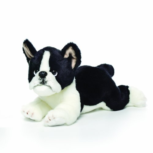 Nat and Jules Laying Large Boston Terrier Dog Children's Plush Stuffed Animal Toy