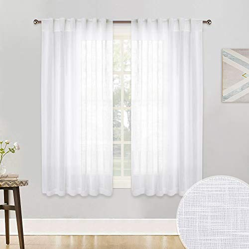 RYB HOME Texture White Voile Window Dressing Decoration Rod Pocket/Back Tab Top Thick Open Weave Semi Sheer Curtain Panels for Bedroom/Nursery/Kitchen, Each Panel 52 Wide x 45 Long inch, 2 ()