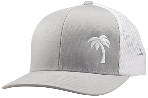 White Trucker Cap (Lindo Trucker Hat - Palm Tree Series (Silver/White))