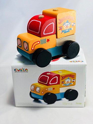 Wooden Car Circus - Ideal Toys for Babies or Infants – Non-Toxic & Safe German Colors – Made from Premium Wood Grown in Mountains – Best Toys for Toddlers – Circus