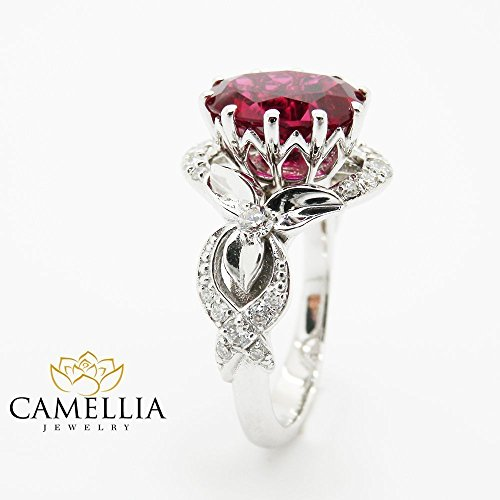 Natural Oval Ruby Engagement Ring Unique 14K White Gold Ring Flower Design Custom Ring with Natural Side Diamonds Nature Inspired Wedding Ring Alternative Ring 1.8 Carat Gemstone Bridal Ring