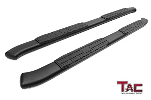 TAC 4.25″ Side Steps for 2015-2018 Chevy Colorado / GMC Canyon Crew Cab Truck Pickup Oval Bend Black PNC Side Steps Nerf Bars Running Boards Exterior Accessories (2PCS Running Boards)