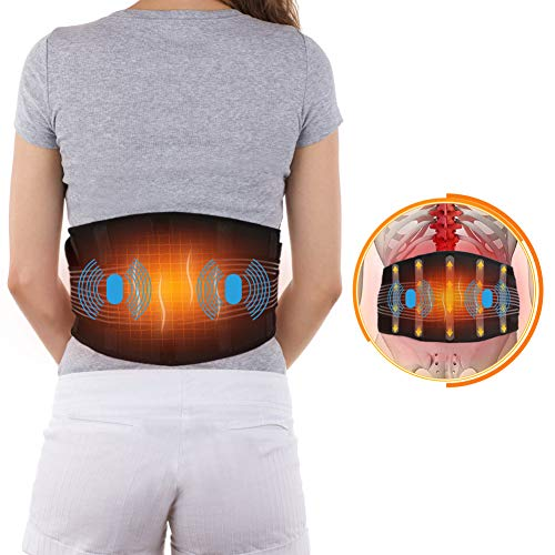 Waist Heating Pad Electric Massage Belt for Men and Women, Adjustable Heated and Massage Lower Back Hot Therapy Pad for Back Abdominal Stomach Cramps Lumbar Muscle Pain Relief