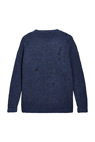 next Mujer Jersey Suéter Pulóver De Punto De Escalera Cuello Redondo Manga Larga Azul Marino