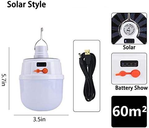 EKUPUZ Solar-LED-Leuchtmittel für den Außenbereich, hohe Helligkeit, IP65 wasserdicht, wiederaufladbar, solarbetriebene LED-Camping-Leuchten, Medium bulb