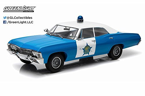 1967 Chevy Biscayne City of Chicago Police Department, Blue with White Roof - Greenlight 19009 - 1/18 Scale Diecast Model Toy - Biscayne Chevrolet Trunk
