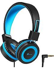 Hoofdtelefoon voor Kinderen, iClever Hoofdtelefoon voor Kinderen, Volume Limited, Stereo-Geluid, Opvouwbaar, Onverwarde Draden, 3,5 mm-Aansluiting voor School/Reizen (blauw zwart)