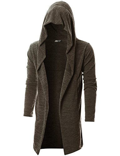 GIVON Mens Long Sleeve Draped Lightweight Open Front Longline Hooded Cardigan/DCC055-BROWN-M