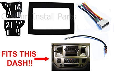 Black Dodge Ram Radio Stereo Double Din Dash Install Kit w/ Wiring Harness (2012 Dodge Double Din Dash Kit)