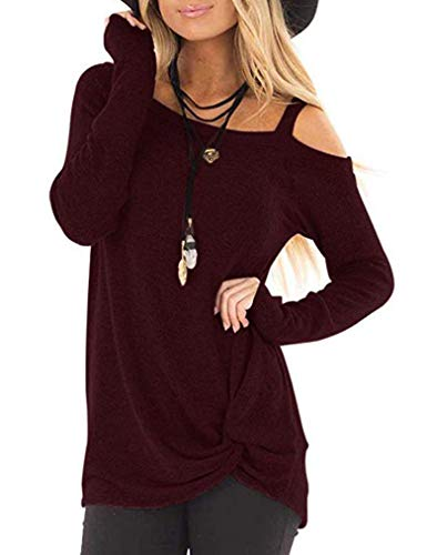 - MISELON Women Cold Shoulder O Neck T-Shirts Knot Side Twist Blouse Top (Small, Wine Red)