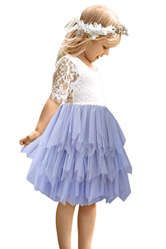 2Bunnies Girl Rose Lace Back A-Line Straight Tutu Tulle Party Flower Girl Dresses (Gray Short Sleeve, 3T) -