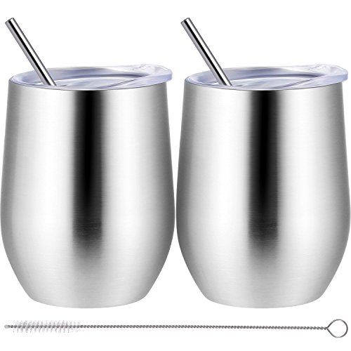 - Skylety 12 oz Double-Insulated Wine Tumbler, Stainless Steel Tumbler Cup with Lids and Straws for Wine, Coffee, Drinks, Champagne, Cocktails, 2 Sets (Silver)
