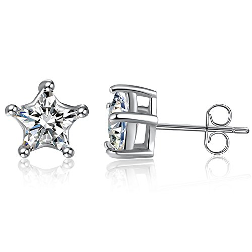 Sephla Lucky Star 925 Sterling Silver 5 Prong Five-Point Star Shape Cubic ZIrconia Stud Earring (7mm White Gold Plated)