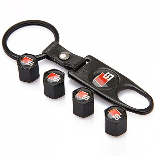 CzlpV Black Car Wheel Tire Valve Caps S Logo Tyre Stem Air Caps Keychain Styling For Audi