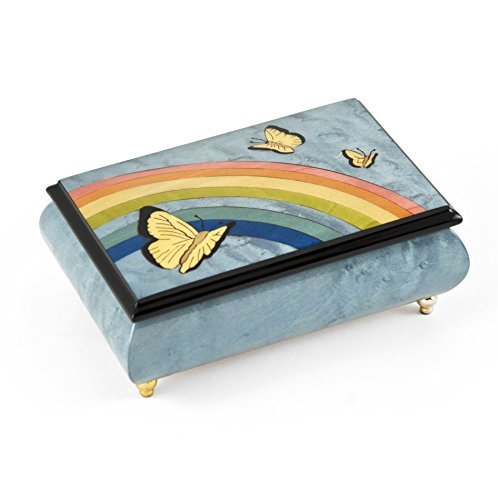 Joyful Light Blue and Wood Tone Butterfly and Rainbow Musical Jewelry Box - .0 Holy Night by MusicBoxAttic