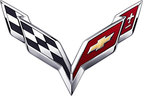 015 2016 2017 Chevy C7 Corvette ARBON Flash Stingray Cross Flags Hood/TrunkChrome Emblem Badge Name Plate (Large for Hood Emblem) ()
