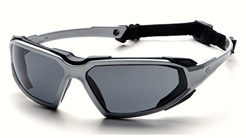 Pyramex Highlander Safety Eyewear, Silver-Black Frame/Gray A