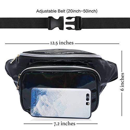 Holographic Fanny Pack Waterproof – Waist Pack for Women Girls, Neon Iridescent Fanny Pack, Stylish Festival Rave Fanny Pack Bum Bag(Black) by MDcharm (Image #2)