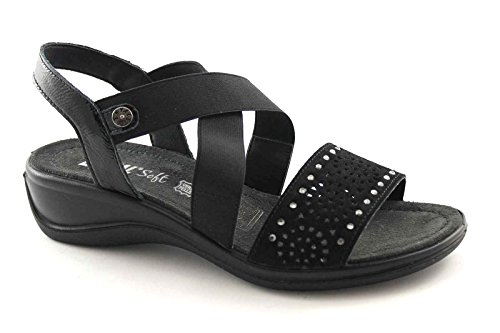 ENVAL 59610 schwarz Strass Sandalen Frauen weichen, flexiblen Gummisohle 38