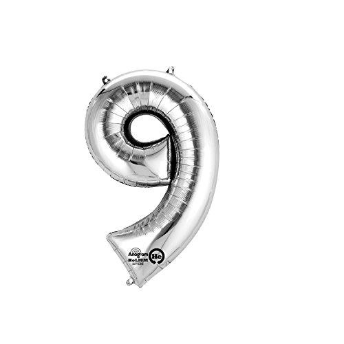 Regina 106467.3, Balão Metalizado Super Shape Número 9 Pack, Prata