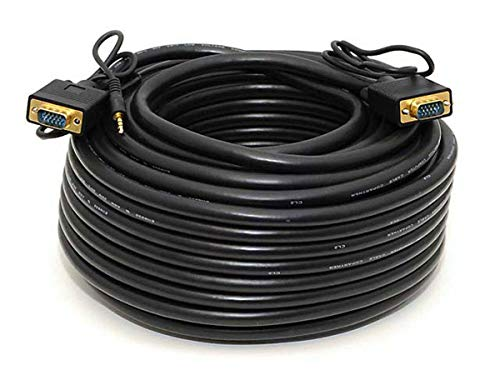 100ft VGA/SVGA Male-Male Monitor Cable w/Stereo Audio and Triple Shielding