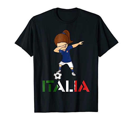 (Dabbing Italy T-Shirt, Italian Soccer Girl Football)