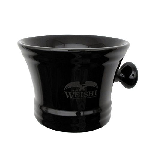 WEISHI Black Porcelain Shaving Soap Bowl With Handle, Mug For Shave Soap And Cream