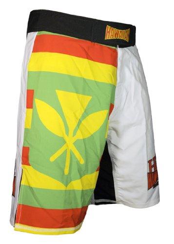 "Hawaiian Fight Gear-HFG Sovereignty Flag Quad-Tech Stretch Fabric Fightshorts White 32"""