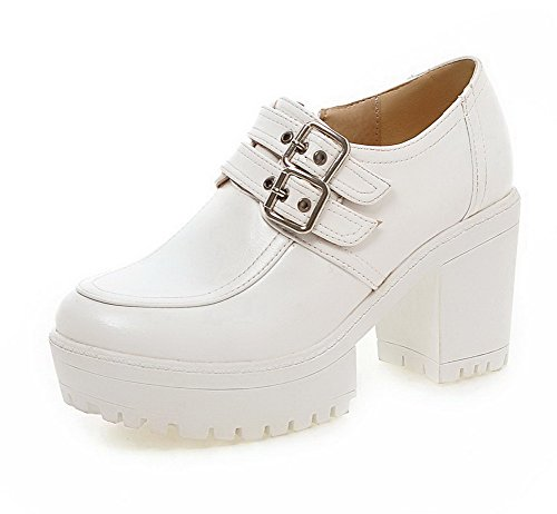 VogueZone009 Damen Rein Weiches Material Hoher Absatz Reißverschluss Rund Zehe Pumps Schuhe Weiß