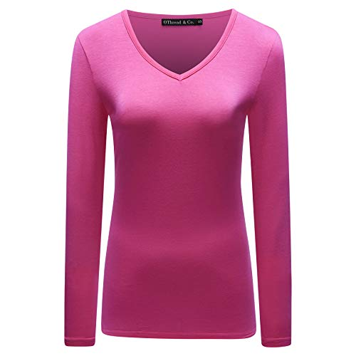 OThread & Co. Women's Long Sleeves V-Neck T-Shirt Plain Basic Spandex Tee (Small, Fuchsia)