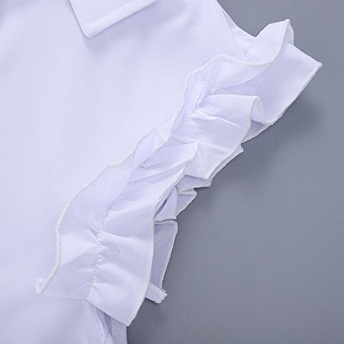 Cou Occasionnels Ansenesna Soire amp; Robes Blanc Dames V Ete Robe Demoiselle Volants Manches 2018 Femme d'honneur Longue Mini Bouton Jupe sans 7zprwaq7Bn