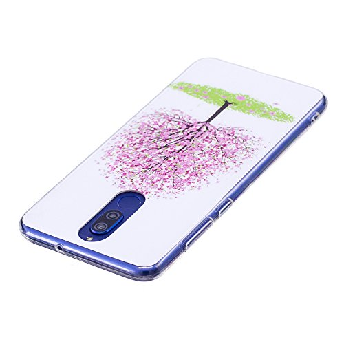 Funda Huawei Mate 10 Lite, CaseLover Noctilucent Luminous TPU Silicona Carcasa Huawei Mate 10 Lite Ultra Delgado Suave Fluorescente Brillo Nocturno En la Oscuridad Protectora Caso Flexible Tapa Caja Árbol rosado
