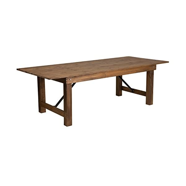 "Flash Furniture HERCULES Series 8' x 40"" Rectangular Antique Rustic Solid Pine Folding Farm Table"