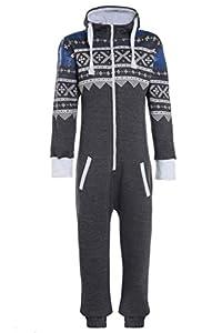 Mens Unisex Women's Aztec Onesie Allover Jumpsuit Night Suit S-XL