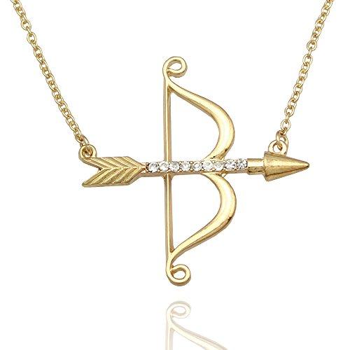 Q&Q Fashion Vintage Gold Cupid Bow & Arrow Katniss Archery Charm Crystal Chain Necklace