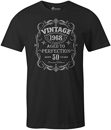 9 Crowns Tees Men's Vintage 1968 Aged to Perfection 50th Birthday T-Shirt-Black-XL