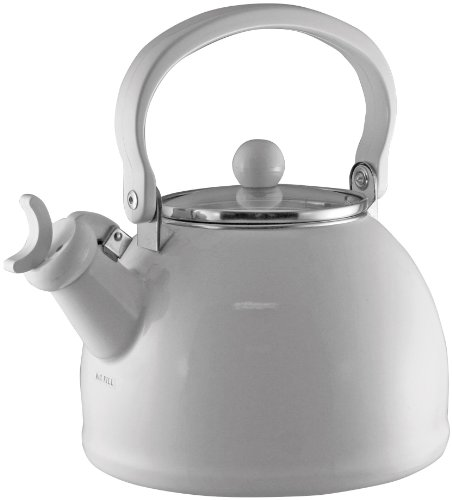 Calypso Basics by Reston Lloyd Harmonic Hum Whistling Teakettle with Glass Lid, 2.2-Quart, White (Harmonic Tea Kettle)