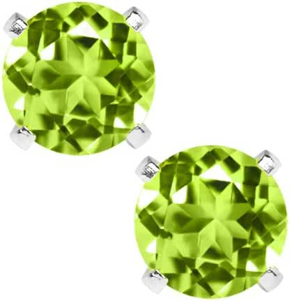 2.00 Ct Natural Green Peridot Gemstone Birthstone 925 Sterling Silver Stud Earrings 6mm For Women