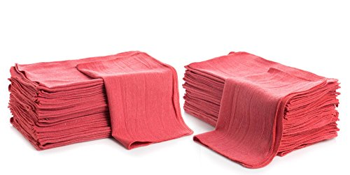 """Shop Towels (Pack of 150) 12"""" X 14"""" Reusable Cotton Towels Washcloths Lint Free- Perfect for Home, Cleaning, Mechanic, Auto or Bathrooms. (Red)"""