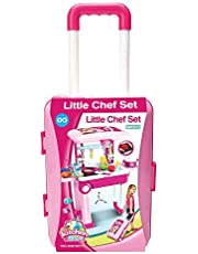 Little Chef 2 in 1 Kitchen Play Set, Pretend Play Luggage Kitchen Kit for Kids with Suitcase Trolley, Multi Color with Lights & Sound