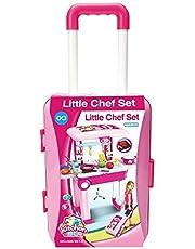 مجموعة ألعاب المطبخ 2 في 1 ليتل شيف ، مجموعة مطبخ ممتعة للعب مخصصة للأطفال مع عربة حقيبة، متعدد الألوان وبها أضواء وصوت