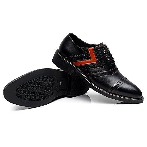 rismart Hommes Classics Smart Robe Habillée Décontractée Split Chaussures de Ville à Lacets 16899(Orange&Noir,37)