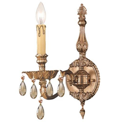 Crystorama 2501-OB-GTS Crystal Accents One Light Sconces from Novella collection in Brassfinish, 8.50 inches