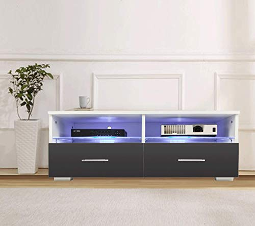 Glass Cabinet Modern (Bonnlo LED TV Cabinet Modern TV Stand Console Furniture with 2 Glass Shelves 2 Drawers for up to 40-inch TV Screen (White + Black))