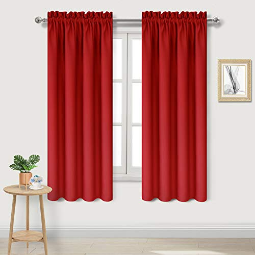 DWCN Blackout Thermal Insulated Room Darkening Curtain Panels Window Curtains Rod Pocket Red Bedroom Curtains,42 x 63 inch Long,Set of 2