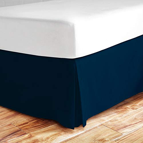 Valencia Beddings Split Corner Bed Skirt 16 Inch Drop Queen Size 100% Natural Cotton Wrinkle and Fade Resistant Queen Size, Navy Blue Solid (Blue Skirts Bed)