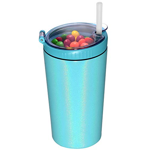 JIVILILM Snack tumbler with lid and straw, stainless steel insulated 2-in-1 travel coffee mug cup, water bottle