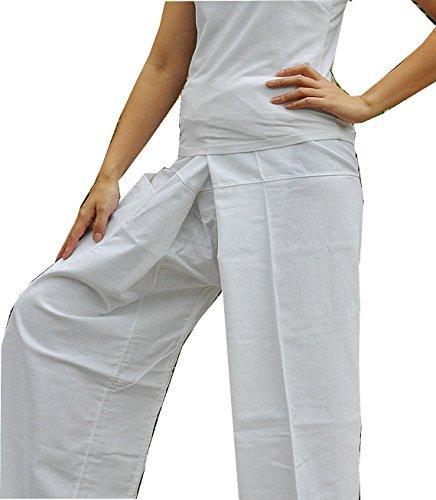 One Tone Pure White Pants Yoga Pants Thai Fisherman Trousers Free Size Cotton Drill.