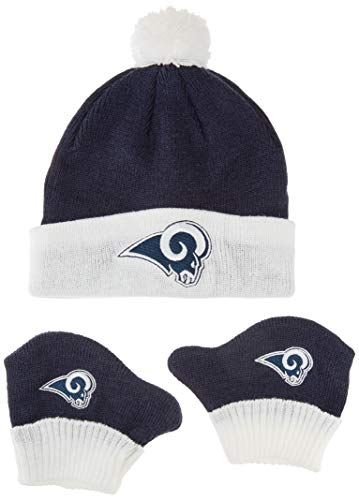 OTS NFL Los Angeles Rams Infant Pow Pow Knit Cap & Mittens Set, Light Navy, Infant