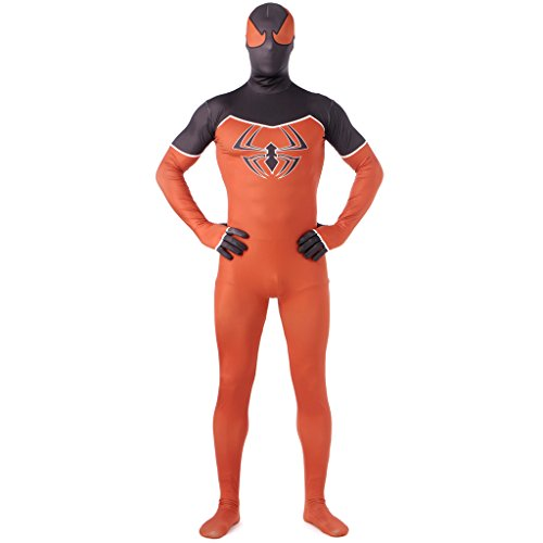 [CosplayDiy Spiderman Adult Cosplay Costume Orange Lycra Spandex Zentai M] (Spiderman Bodysuit)